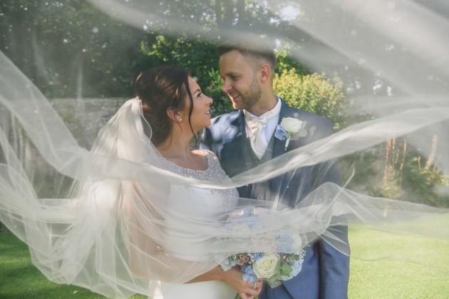 Stan-Seaton-Photography-Headlam-Hall-wedding-bride-and-groom-with-veil