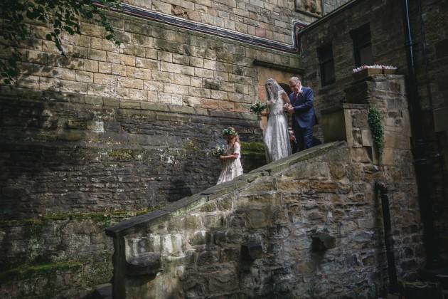 019 Durham-Wedding-Photographer-Stan-Seaton-Bride-Father-and-flower-girl-arriving.JPG