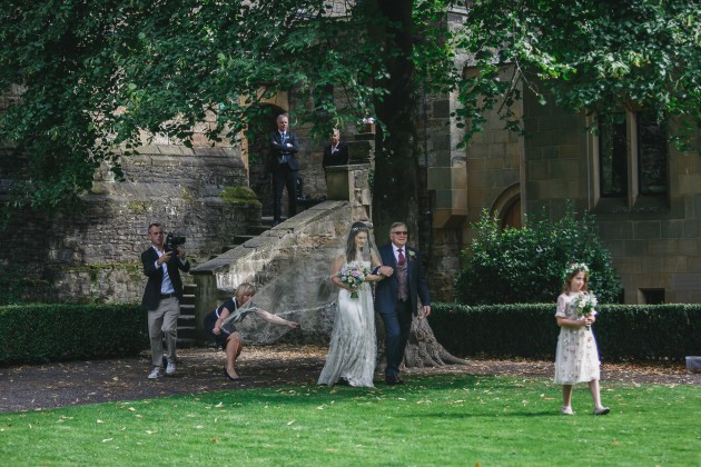 020 Durham-Wedding-Photographer-Stan-Seaton-Bride-Father-and-flower-girl-arriving.JPG
