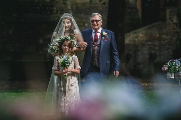 021 Durham-Wedding-Photographer-Stan-Seaton-Bride-Father-and-flower-girl-arriving.JPG