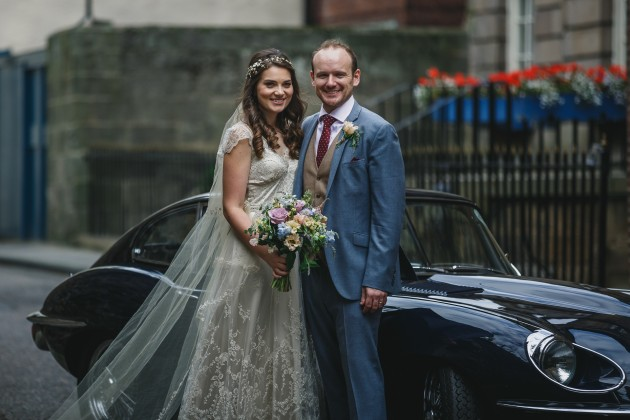 066 Durham-Castle-Wedding-Photographer-Stan-Seaton-bride-and-groom-in-the-cobbled-streets.JPG